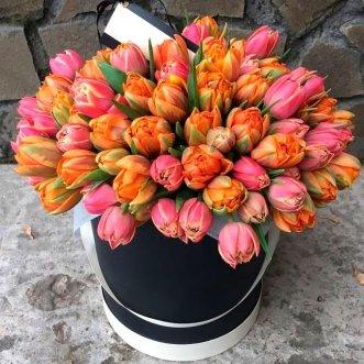 101 тюльпан в черной коробке